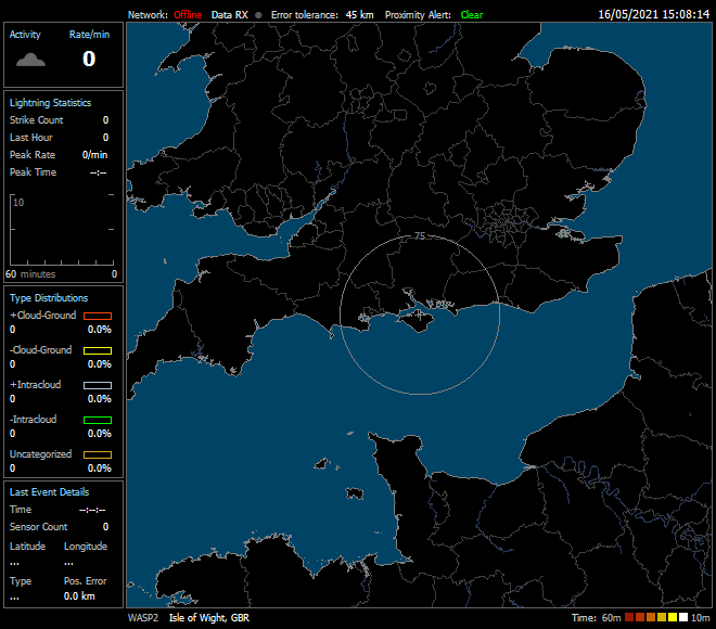 Data submitted from the Isle of Wight Weather station to the WASP2 lightning detection network